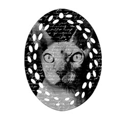 Sphynx Cat Oval Filigree Ornament (two Sides) by Valentinaart