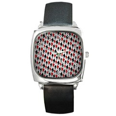 Suit Spades Hearts Clubs Diamonds Background Texture Square Metal Watch by Simbadda