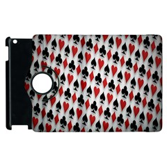 Suit Spades Hearts Clubs Diamonds Background Texture Apple Ipad 3/4 Flip 360 Case by Simbadda