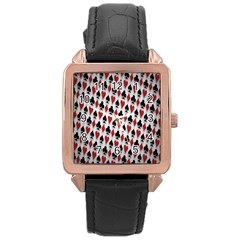 Suit Spades Hearts Clubs Diamonds Background Texture Rose Gold Leather Watch  by Simbadda