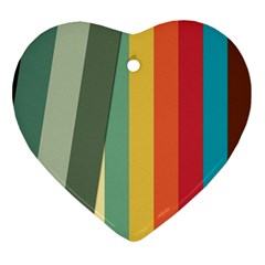 Texture Stripes Lines Color Bright Ornament (heart) by Simbadda