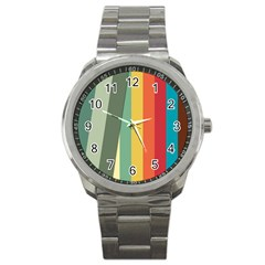 Texture Stripes Lines Color Bright Sport Metal Watch by Simbadda
