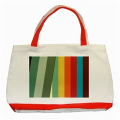 Texture Stripes Lines Color Bright Classic Tote Bag (Red)