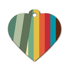Texture Stripes Lines Color Bright Dog Tag Heart (two Sides) by Simbadda