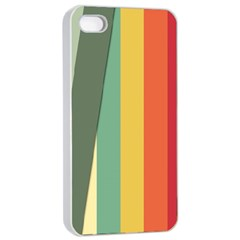 Texture Stripes Lines Color Bright Apple Iphone 4/4s Seamless Case (white) by Simbadda