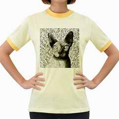 Sphynx Cat Women s Fitted Ringer T Shirts by Valentinaart