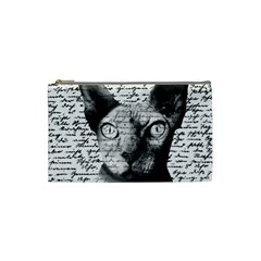 Sphynx Cat Cosmetic Bag (small)  by Valentinaart