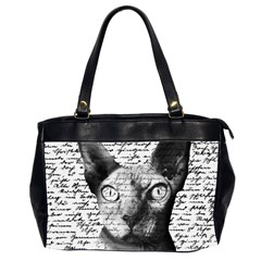 Sphynx Cat Office Handbags (2 Sides)  by Valentinaart