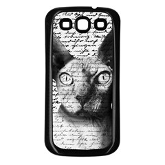 Sphynx Cat Samsung Galaxy S3 Back Case (black) by Valentinaart