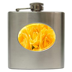 Yellow Neon Flowers Hip Flask (6 Oz) by Simbadda