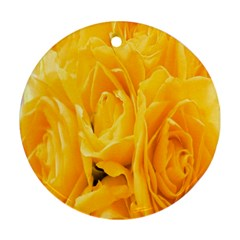 Yellow Neon Flowers Round Ornament (two Sides) by Simbadda