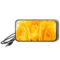Yellow Neon Flowers Portable Speaker (black) by Simbadda
