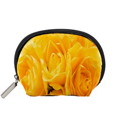 Yellow Neon Flowers Accessory Pouches (small)  by Simbadda