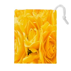 Yellow Neon Flowers Drawstring Pouches (extra Large) by Simbadda
