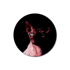 Sphynx Cat Rubber Round Coaster (4 Pack)  by Valentinaart