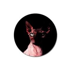 Sphynx Cat Magnet 3  (round) by Valentinaart
