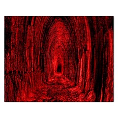 Tunnel Red Black Light Rectangular Jigsaw Puzzl by Simbadda
