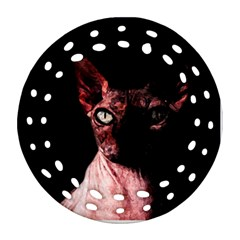 Sphynx Cat Round Filigree Ornament (two Sides) by Valentinaart