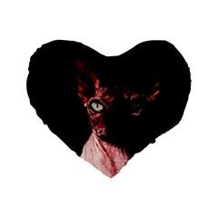 Sphynx Cat Standard 16  Premium Heart Shape Cushions by Valentinaart
