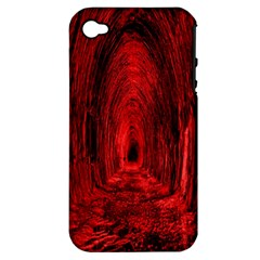 Tunnel Red Black Light Apple Iphone 4/4s Hardshell Case (pc+silicone) by Simbadda