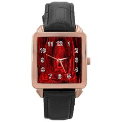 Tunnel Red Black Light Rose Gold Leather Watch  by Simbadda