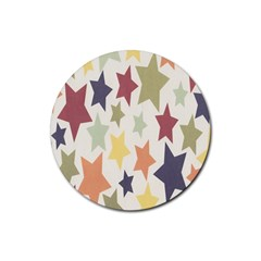 Star Colorful Surface Rubber Round Coaster (4 Pack)  by Simbadda