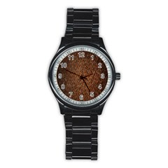 Texture Background Rust Surface Shape Stainless Steel Round Watch by Simbadda
