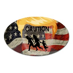 Caution Oval Magnet by Valentinaart