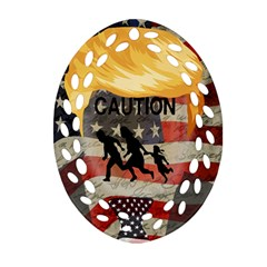Caution Oval Filigree Ornament (two Sides) by Valentinaart