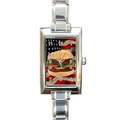 Hamburger Rectangle Italian Charm Watch by Valentinaart