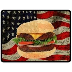 Hamburger Fleece Blanket (large)  by Valentinaart