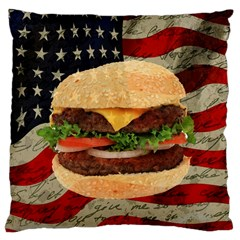Hamburger Large Cushion Case (two Sides) by Valentinaart