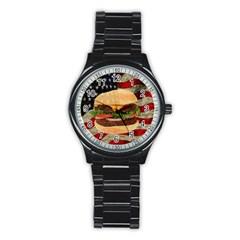 Hamburger Stainless Steel Round Watch by Valentinaart