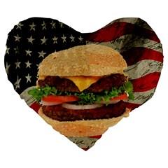 Hamburger Large 19  Premium Flano Heart Shape Cushions by Valentinaart