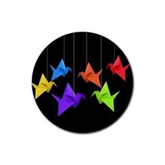 Paper Cranes Rubber Coaster (round)  by Valentinaart