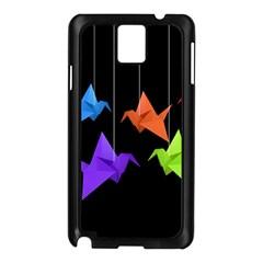 Paper Cranes Samsung Galaxy Note 3 N9005 Case (black) by Valentinaart