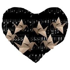 Paper Cranes Large 19  Premium Heart Shape Cushions by Valentinaart