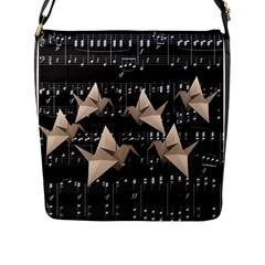 Paper Cranes Flap Messenger Bag (l)  by Valentinaart