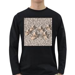 Paper Cranes Long Sleeve Dark T Shirts by Valentinaart