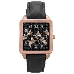 Paper Cranes Rose Gold Leather Watch  by Valentinaart