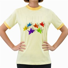 Paper Cranes Women s Fitted Ringer T Shirts by Valentinaart