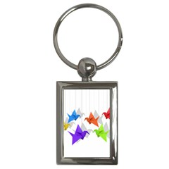 Paper Cranes Key Chains (rectangle)  by Valentinaart