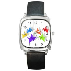 Paper Cranes Square Metal Watch by Valentinaart