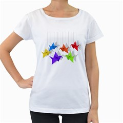 Paper Cranes Women s Loose Fit T Shirt (white) by Valentinaart