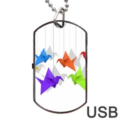 Paper Cranes Dog Tag Usb Flash (one Side) by Valentinaart