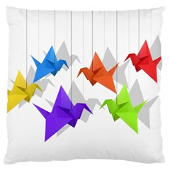 Paper Cranes Large Cushion Case (two Sides) by Valentinaart