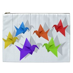 Paper Cranes Cosmetic Bag (xxl)  by Valentinaart