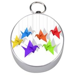 Paper Cranes Silver Compasses by Valentinaart