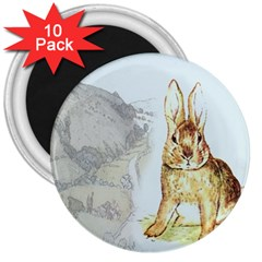 Rabbit  3  Magnets (10 Pack)  by Valentinaart
