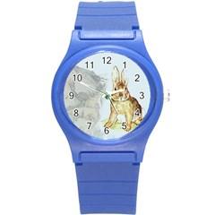 Rabbit  Round Plastic Sport Watch (s) by Valentinaart